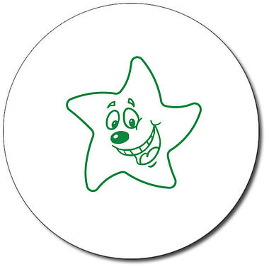 Personalised Happy Star Stamper - Green Ink (25mm)