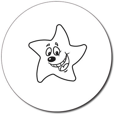 Personalised Happy Star Stamper - Black Ink (25mm)