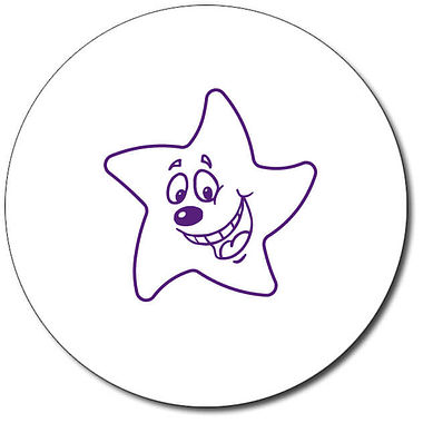 Personalised Expression Star Happy 25mm Purple Ink Stamper