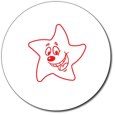 Personalised Expression Star Happy 25mm Red Ink Stamper