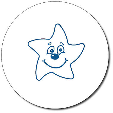 Personalised Smiley Star Stamper - Blue (25mm)