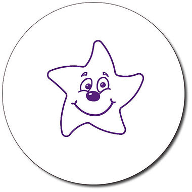 Personalised Smiley Star Stamper - Purple (25mm)