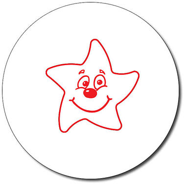Personalised Smiley Star Stamper - Red (25mm)