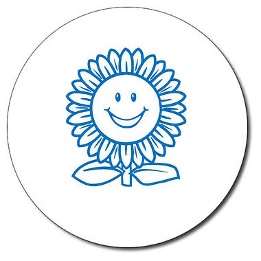 Personalised Sunflower Stamper - Blue Ink (25mm)
