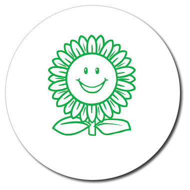 Personalised Sunflower Stamper - Green Ink (25mm)