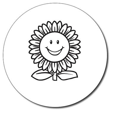 Personalised Sunflower Stamper - Black Ink (25mm)