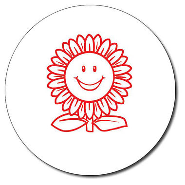 Personalised Sunflower Stamper - Red Ink (25mm)