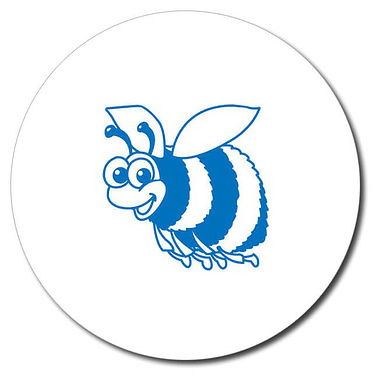 Personalised Bee Stamper - Blue Ink (25mm)