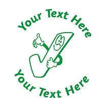 Personalised Tick 25mm Green Ink Stamper