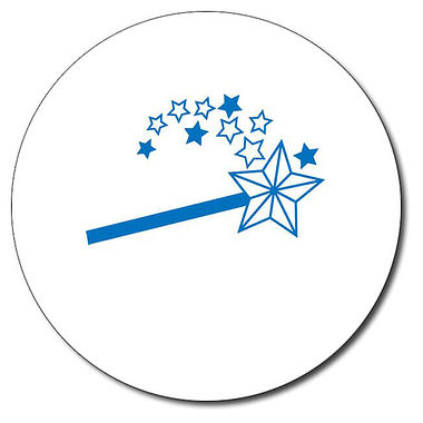 Personalised Magic Wand Stamper - Blue Ink (25mm)