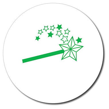 Personalised Magic Wand Stamper - Green Ink (25mm)