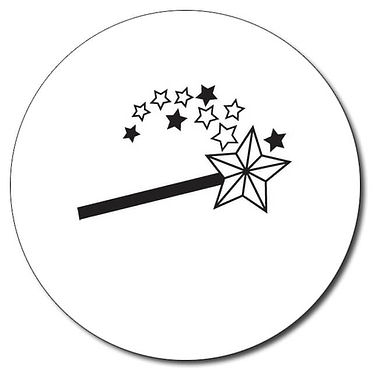 Personalised Magic Wand Stamper - Black Ink (25mm)