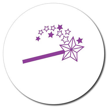 Personalised Magic Wand Stamper - Purple Ink (25mm)
