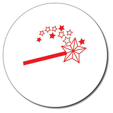 Personalised Magic Wand Stamper - Red Ink (25mm)