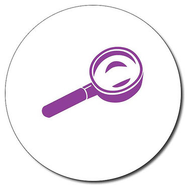 Personalised Magnifying Glass Stamper - Purple (25mm)