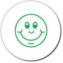 Personalised Smiley Face 25mm Green Ink Stamper