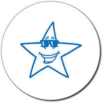 Personalised Star With Sunglasses 25mm Blue Ink Stamper