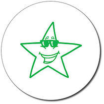 Personalised Star With Sunglasses 25mm Green Ink Stamper