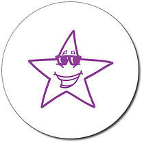 Personalised Star With Sunglasses 25mm Purple Ink Stamper