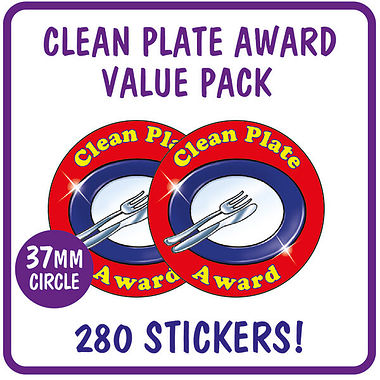 Clean Plate Award Stickers Value Pack (280 Stickers - 37mm)