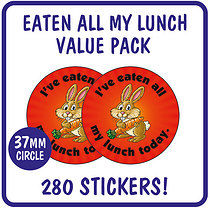 Value Pack of 280 Eaten all my Lunch Rabbit 37mm Stickers
