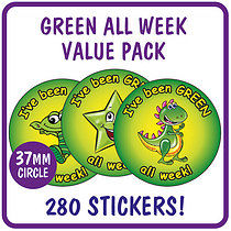 Value Pack of 280 Mixed Green all Week 37mm Stickers