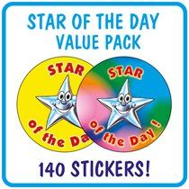 Value Pack of 140 Mixed Star of the Day 37mm Stickers