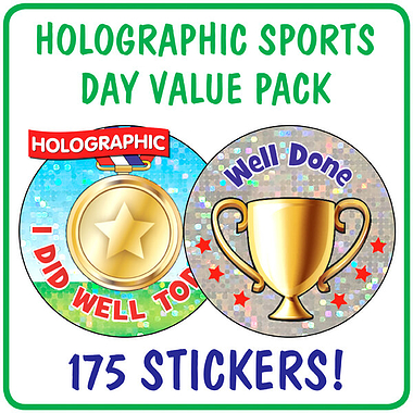 Holographic Sports Day Stickers Value Pack (175 Stickers - 37mm)