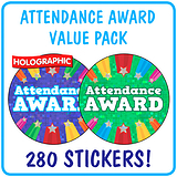 Holographic Attendance Award Stickers Value Pack (280 Stickers - 37mm)