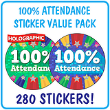 Holographic 100% Attendance Stickers Value Pack (280 Stickers - 37mm)