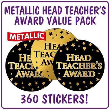 Metallic Head Teacher's Award Stickers Value Pack (280 Stickers - 37mm)