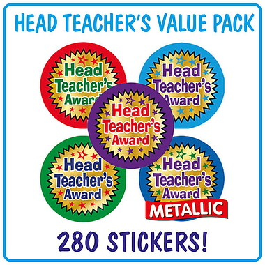 Metallic Head Teacher's Award Stickers Value Pack (280 Stickers - 37mm) Brainwaves
