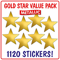 Value Pack of  1120 Gold Metallic 18mm Star Stickers