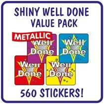 Value Pack of  560 Mixed Well Done Metallic 16mm Stickers