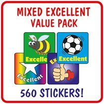 Value Pack of  560 Mixed Excellent 16mm Stickers
