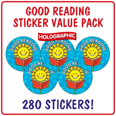 Holographic Good Reading Stickers Value Pack (280 Stickers - 20mm)