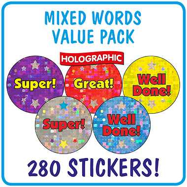 Holographic Stickers Value Pack (280 Stickers - 20mm)