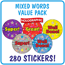 Value Pack of  280 Wording Holographic 20mm Stickers