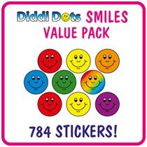 Value Pack of 784 Diddi Dot Smiles 10mm Stickers