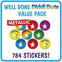 Value Pack of 784 Diddi Dot Well Done Stars 10mm Stickers
