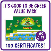 Value Pack 'It's Good to be Green Award' A5 Certificates x 100
