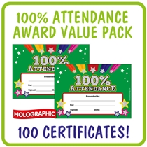 '100% Attendance' Certificate Value Pack (Holographic, A5 x 100)