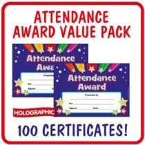 Attendance Award Certificates Holographic (A5) x 100 in a Value Pack