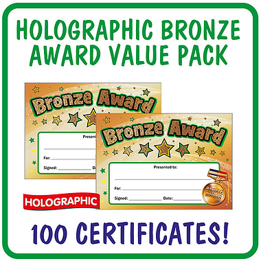 Holographic Bronze Award Certificates Value Pack (100 Certificates - A5)