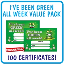 'I've Been Green All Week' Certificates (A5, Holographic, Value Pack, 100 Certificates)