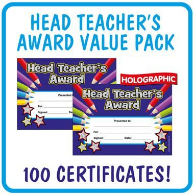 Holographic Head Teacher's Award Certificates Value Pack (100 Certificates - A5)