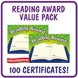 Holographic Reading Award Certificate Value Pack (100 Certificates - A5)