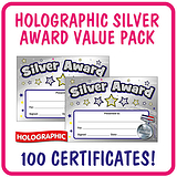 Holographic Silver Award Certificates Value Pack (100 Certificates - A5)
