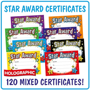 Star Award Megamix Certificates (120 Certificates - A5) Value Pack