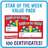 Holographic Star of the Week Certificates Value Pack (100 Certificates - A5)